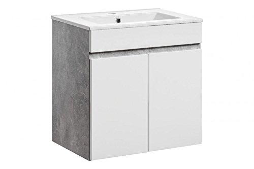 Jadella Waschbeckenunterschrank 'Gregory W' Waschtisch Waschbecken Badmöbel Weiß Beton, Unterschrank:Gregory 60.Zera 150 Sch.Türen