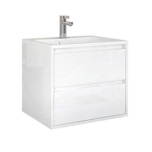 Quentis Badmöbel Waschplatzset Opera, Breite 60 cm, 2-teilig, Waschbecken und Unterschrank, 2 Schubladen, Softeinzug, Front und Korpus weiß glänzend, Waschbeckenunterschrank montiert