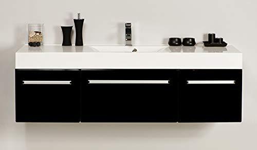 Quentis Waschplatzset ARUVA, Breite 140 cm, schwarz glänzend, Waschbecken mit Unterschrank, Waschbeckenunterschrank montiert