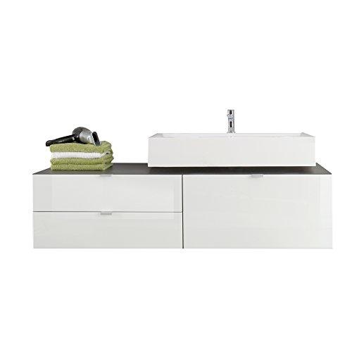 trendteam Badezimmer Waschbeckenunterschrank Unterschrank Beach, 140 x 53 x 53 cm in Korpus Grau Melamin, Front Weiß Hochglanz inkl. Waschbecken