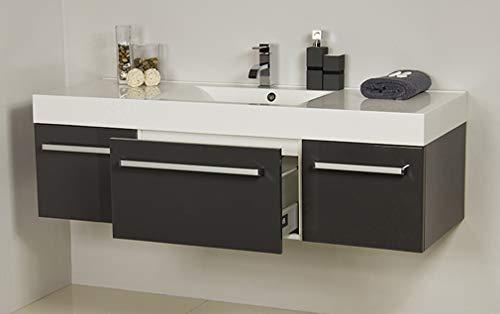 Quentis Badmöbel Aruva, Breite 140 cm, Waschplatzset 2-teilig, anthrazit glänzend, Waschbeckenunterschrank montiert