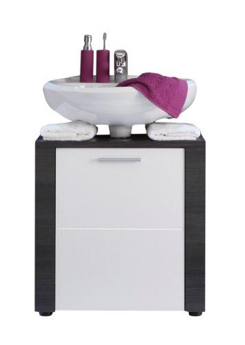 trendteam smart living Badezimmer Waschbeckenunterschrank Unterschrank Xpress , 60 x 62 x 35 cm in Korpus Esche Grau (Nb.), Front Weiß mit viel Stauraum