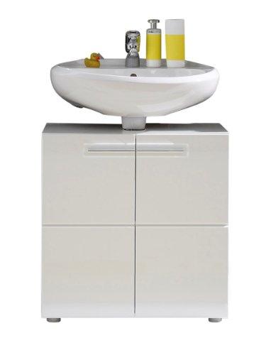 trendteam smart living Badezimmer Waschbeckenunterschrank Unterschrank Bora , 60 x 56 x 34 cm in Weiß Hochglanz mit viel Stauraum