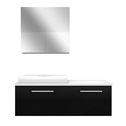 AcquaVapore Badmöbel Set City 211 V1 Esche sw Badezimmermöbel, Waschtisch 140cm NEIN ohne LED-Beleuchtung