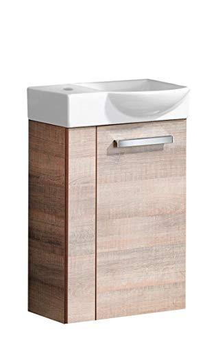 FACKELMANN A-VERO Gäste WC Set rechts 2 Teile/Keramik Waschbecken/Waschbeckenunterschrank mit 1 Tür/Soft-Close/Türanschlag rechts/Korpus: Braun hell/Front: Braun hell/Breite: 45 cm