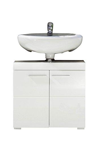 trendteam smart living Badezimmer Waschbeckenunterschrank Unterschrank Amanda, 60 x 56 x 34 cm in Weiß Hochglanz mit viel Stauraum