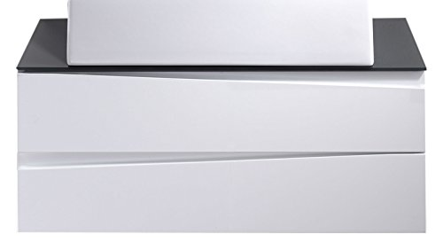 CAVADORE Waschtisch SHARPCUT / Moderne Bad Kommode / Front Hochglanz Weiß / 2 Schubladen mit gefräster Griffleiste / Korpus Melamin weiß / Glasablage grau /  80x33x46cm (BxHxT)