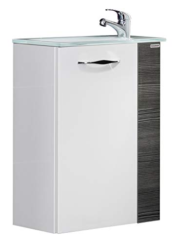 FACKELMANN Mini-Waschtischunterschrank SCENO/gedämpfte Scharniere/Maße (B x H x T): ca. 44 x 60 x 24 cm/Badschrank/Türanschlag frei wählbar/Korpus: Weiß/Front: Weiß/Blende: Schwarz