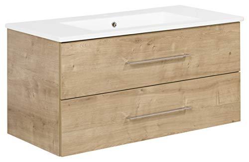 FACKELMANN Waschtischunterschrank inkl. Keramikbecken B.PERFEKT/Soft-Close-System/Maße (B x H x T): ca. 103 x 51 x 48 cm/Waschbeckenunterschrank & Waschtisch/Schrank: Braun/Becken: Weiß
