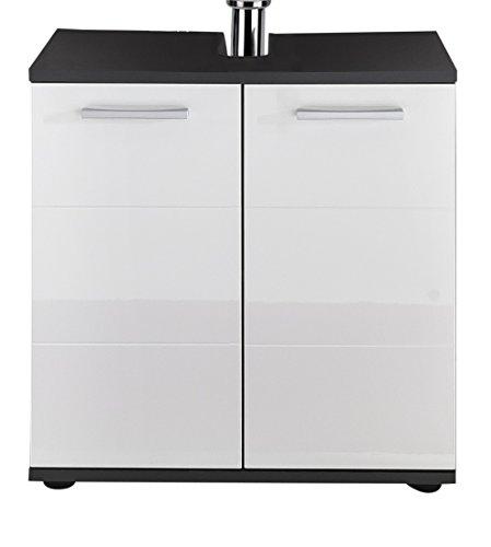 trendteam Badezimmer Waschbecken Unterschrank Schrank Smart, 60 x 60 x 36 cm in Korpus Grau, Front Weiß Hochglanz  mit viel Stauraum