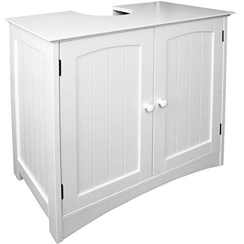 Anaterra Waschbeckenunterschrank weiß, Bad-Unterschrank, (B/H/T) 60 x 60 x 30 cm, Verstellbarer Einlegeboden & Siphon Aussparung - perfekt für Badezimmer im Landhausstil