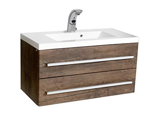 Quentis Waschplatzset Genua 80, Holzdekor antik, Waschtischunterschrank mit 2 Schubladen