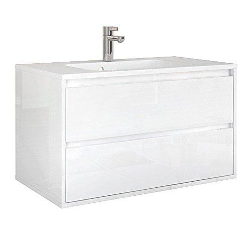 Quentis Badmöbel Opera, Breite 90 cm, Waschbecken mit Unterschrank, 2 Schubladen, inkl. Softeinzug, weiß, Lieferung des Waschbeckenunterschranks montiert