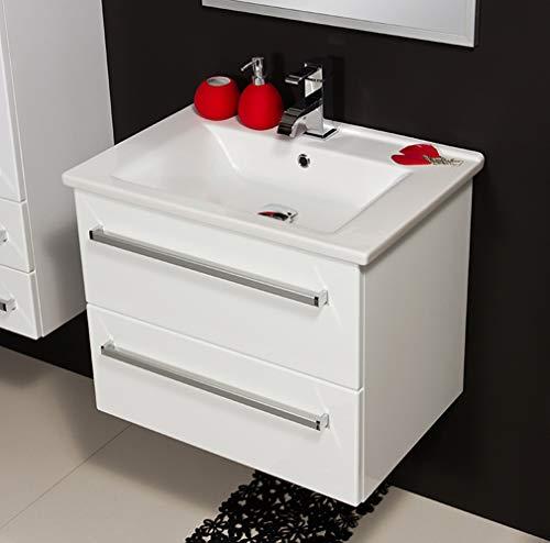 Quentis Badmöbel Serena 65, Keramikwaschtisch mit Unterschrank, weiß glänzend, 2 Schubladen, Waschbeckenunterschrank montiert