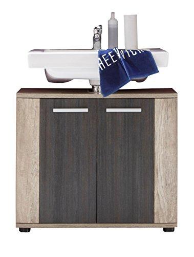 trendteam smart living Badezimmer Waschbeckenunterschrank Unterschrank Star, 70 x 61 x 32 cm in Eiche Monument  (Nb.), Absetzung Touchwood  Dunkelbraun mit Siphonausschnitt
