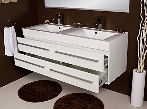 Quentis Doppelwaschplatz Aruva, Breite 140 cm, weiß glänzend, 4 Schubladen, Waschbeckenunterschrank montiert