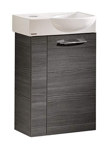 FACKELMANN VADEA Gäste WC Set rechts 2 Teile/Keramik Waschbecken/Waschbeckenunterschrank/Badmöbel mit 1 Tür/Soft-Close/Türanschlag rechts/Korpus: Schwarz/Front: Schwarz/Breite: 45 cm