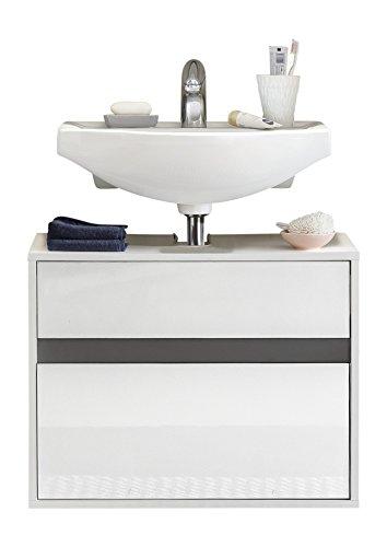trendteam smart living Badezimmer Waschbeckenunterschrank Unterschrank hängend Sol, 67 x 52 x 36 cm in Korpus Weiß, Front Weiß Hochglanz mit viel Stauraum