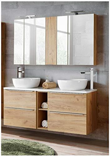 Naka24 Badmöbel Set Capri-B Eiche Gold 140 cm mit 2 Waschbecken LED Soft - Close (Waschbecken Waschbeckenunterschrank Spiegelschrank)