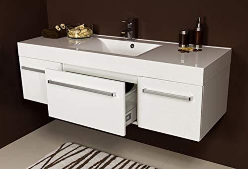Quentis Badmöbel Aruva, Breite 140 cm, weiß glänzend, Waschbecken mit Unterschrank, Waschbeckenunterschrank montiert