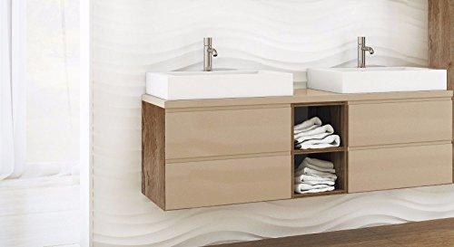 NEU Badmöbel Set BONITA 150 cm mit Doppelwaschbecken Keramik Vanilla Hochglanz (Waschbecken Waschbeckenunterschrank 150cm)