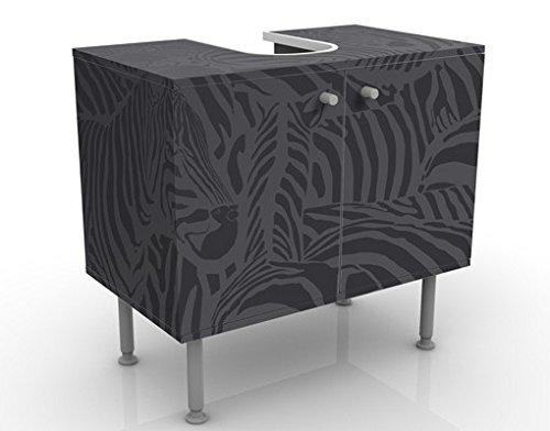 Apalis 53881 Waschbeckenunterschrank Nummer DS3 Zebras schwarz, 60 x 55 x 35 cm