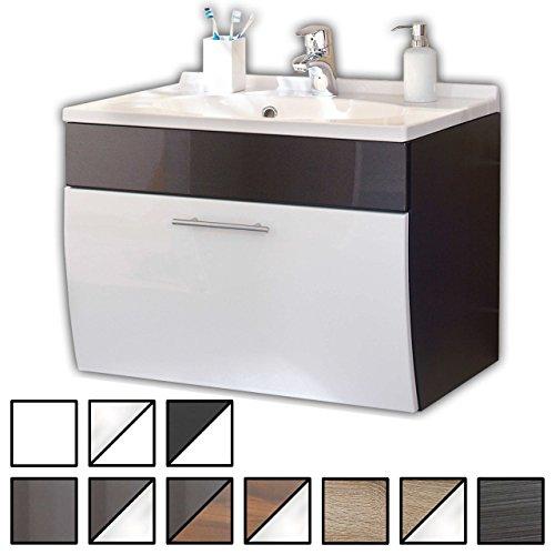 Waschtisch Set Wendum Anthrazit-Weiß (Waschbecken mit Waschbeckenunterschrank) Breite 70 cm, für Gäste-WC, Form recht-eckig, hängend, unten abgerundet, 1 Schublade breit