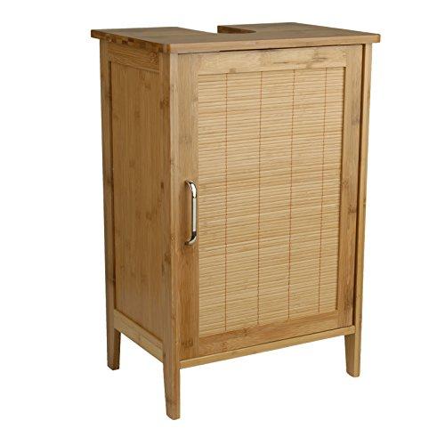 Waschtischunterschrank Bambus braun 27 x 40 x 60 cm   Aussparung für Siphon   verstellbarer Einlegeboden