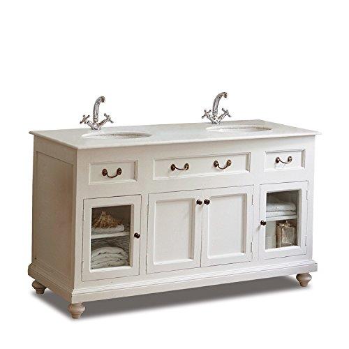 Loberon Waschtisch Belmont, Mangoholz, Glaseinsätze, H/B/T ca. 85/150 / 60 cm, weiß
