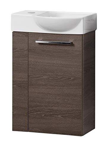 FACKELMANN Rondo Gäste WC Set rechts 2 Teile/Keramik Waschbecken/Waschbeckenunterschrank mit 1 Tür/Soft-Close/Türanschlag rechts/Korpus: Braun dunkel/Front: Braun dunkel/Breite: 45 cm