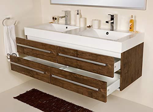 Quentis Doppelwaschplatz Zeno, Breite 140 cm, Holzdekor antik, 4 Schubladen, Waschbeckenunterschrank montiert