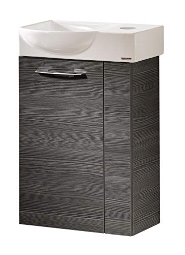 FACKELMANN VADEA Gäste WC Set Links 2 Teile/Keramik Waschbecken/Waschbeckenunterschrank mit 1 Tür/Badmöbel mit Soft-Close/Türanschlag Links/Korpus: Schwarz/Front: Schwarz/Breite: 45 cm