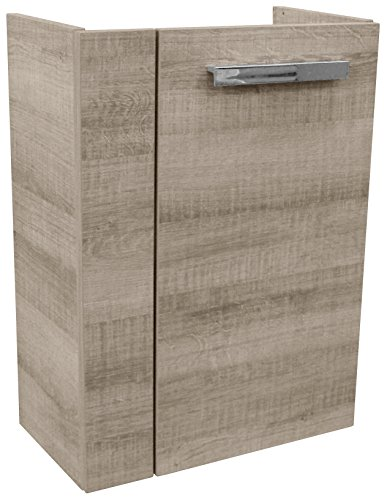 FACKELMANN Mini-Waschtischunterschrank A-VERO/gedämpfte Scharniere/Maße (B x H x T): ca. 44 x 60 x 24 cm/hochwertiger Schrank fürs Badezimmer/Korpus: Braun hell/Front: Braun hell