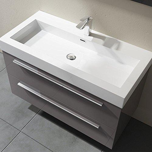 Waschbecken mit Unterschrank 100 cm, Quadratto Badmöbelset 2-teilig mit Waschschale aus Mineralguss und Waschbeckenunterschrank mit 2 Schubladen in Anthrazit